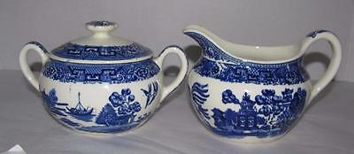Vintage Blue Willow Sugar Bowl with Lid &  Creamer cream pitcher Japan