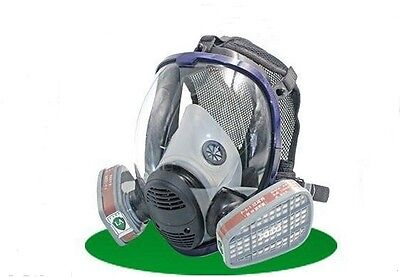 Full Face Mask +Filter Cartridge Facepiece Respirator Painting Spraying Gas Dust