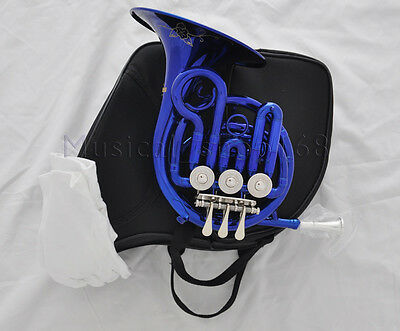 Top new Blue Bb mini french horn piccolo french with mouthpiece case