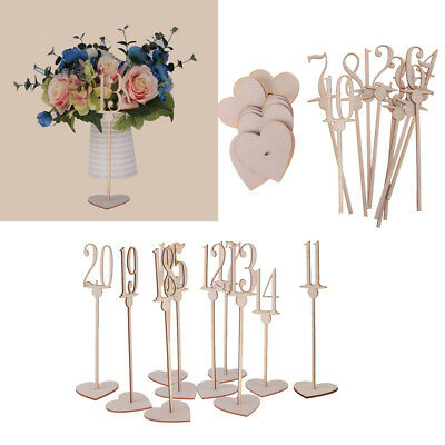 Free Standing Wooden Table Numbers with Heart Base Wedding Decoration 1-20