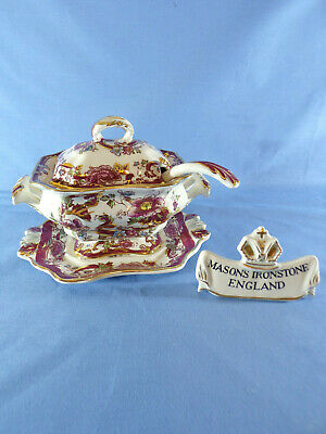 Masons Ironstone Red Mandalay Pattern Bedford Sauce Tureen Underplate & Laddle