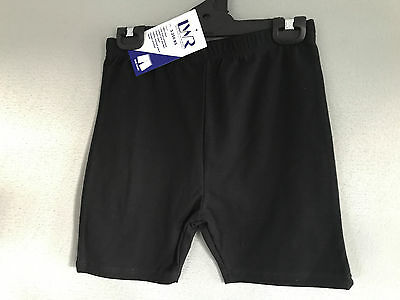 BNWT Girls Sz 16 LW Reid Black Elastic Waist School/Sport Athletic Bike Shorts