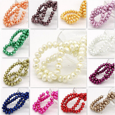 Wholesale 40pcs Faceted Rondelle Pearl Crystal Glass Loose Spacer Beads DIY 8mm