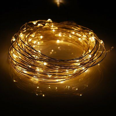 10M 100L silver Wire Lights Fairy String Décorations lumineuses DC12V Warm White