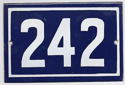 Old blue French house number 242 door gate plate plaque enamel steel metal sign