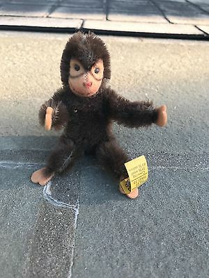 Vintage Steiff Stuffed Animal Monkey With Bendable Parts & Tag 3""