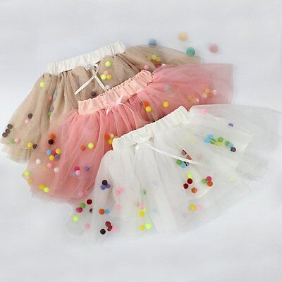 0-4Y Toddler Baby Girl Pom Pom Tulle Pettiskirt Tutu Skirt Petticoat Party Dress