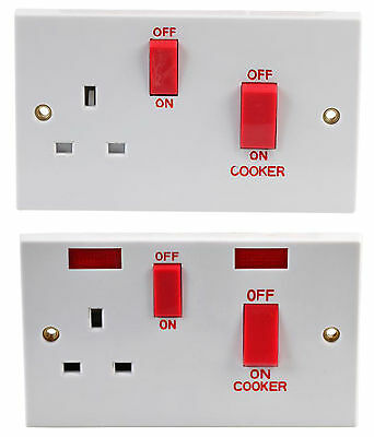 45A DP COOKER CONTROL SWITCHES + SOCKET + NEON Light - Electrical Switch Fitting