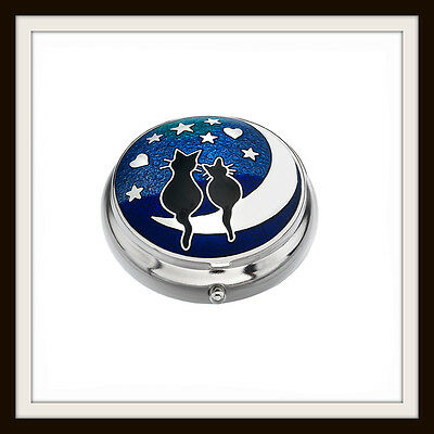 Cats & Moon With Stars ~  Blue Enamel Pillbox ~ From Sea Gems ~