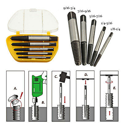 5PCS Quick Screw Drill Bit Bolt Stud Extractor Speed Out Remover