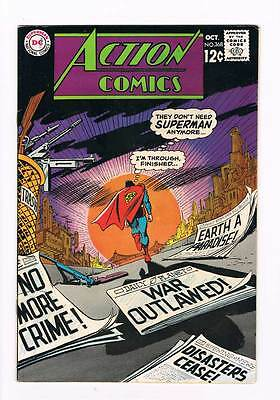 Action Comics # 368 They don't need Superman anymore ! grade 7.5 scarce book !!