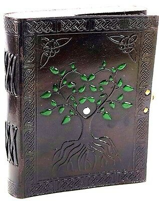 Handpainted Celtic Tree of Life Handmade Leather 8x6 Journal  NEW