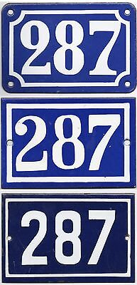 Old blue French house number 287 door gate wall fence street sign plate plaque