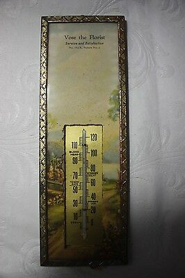 Vintage Vose the Florist Service and Satisfaction Thermometer Old Flower