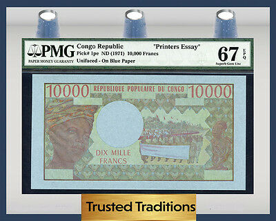 "TT PK 1pe CONGO REPUBLIC 10000 FRANCS ""PRINTERS ESSAY"" PMG 67 EPQ SUPERB POP ONE"