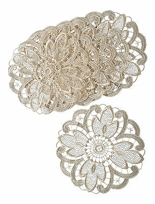 """Pack of 6 Cream Floral Lace 10"""" Round Doilies Traditional Table Dressing Doyleys"""