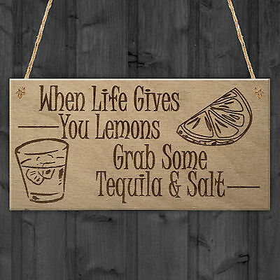 Lemons Tequila Man Cave Funny Home Bar Alcohol Hanging Plaque Friend Gift Sign
