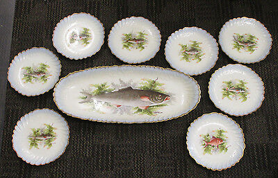 "ANTIQUE Vintage LIMOGES FRANCE 23-1/2"" FISH PLATTER with 8 9"" PLATES SET"