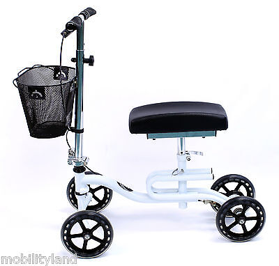 Knee Scooter Walker Foldable 2-in-1 Leg Crutch Karman KW-100-WT White Color NEW