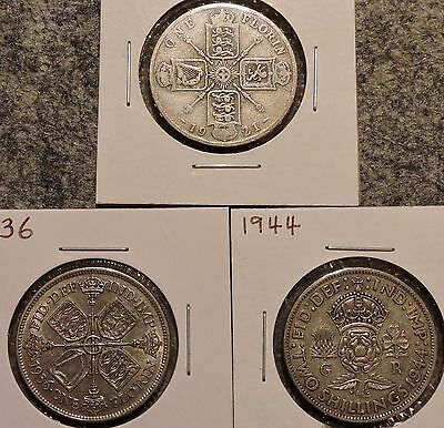 British Silver Florins - Set of 3 - 1921 / 1936 / 1944 - $1 Unlimited Shipping-C