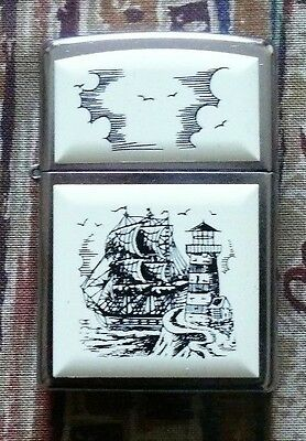 Novelty Scrimshaw Ship Pipe Zippo Lighter Free P&p Free Flints