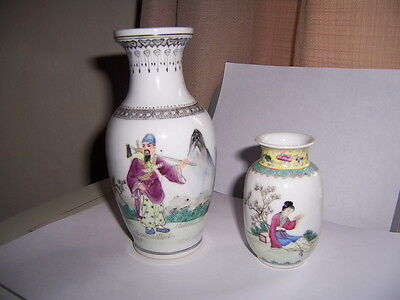 pretty vintage Chinese hand painted porcelain vase 2 larger 6.5 in and 3.5 in