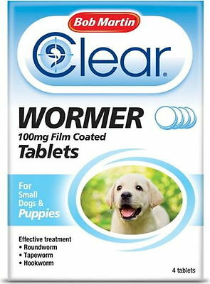 Bob Martin Clear Wormer 4 Tablets 100mg for Small Dogs & Puppies FREEPOST