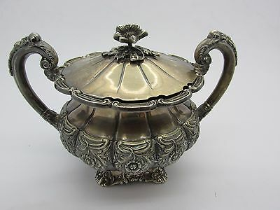 Antique Floral Sterling Silver Hinged Lid Sugar Bowl Flower Finial HEAVY 391g