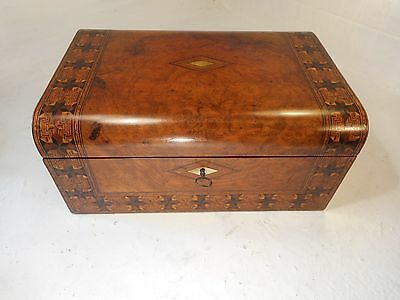 Antique Walnut inlaid Writng Slope Box , Secret Drawers   ref2933