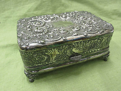 Antique Victorian Meriden Silver Plate Silk Thread Box Sewing Case Ornate Velvet