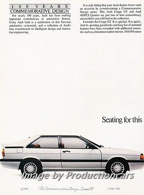 1986 Audi Coupe GT and 4000 Original 2-page Advertisement Print Art Car Ad J713