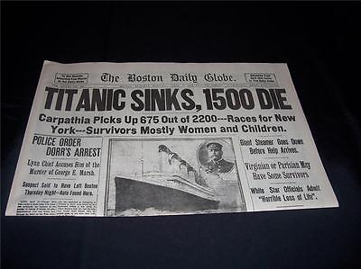 Titanic Boston Globe 1912 Newspaper/ Marsh Murder Story/ Ty Cobb Quits Team