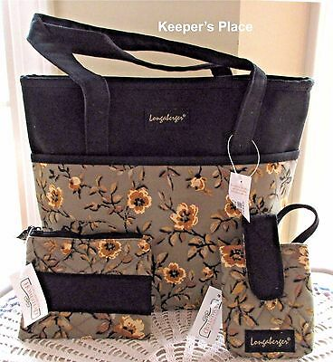 Longaberger Khaki Floral Double Handle Tote Bag, Cell Phone & Coin Case Set NEW
