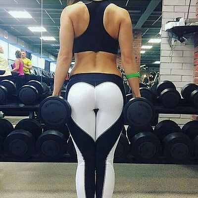 Damen Herz Sporthose Leggings Hose Training Laufhose Fitnesshose Yoga Gym DE