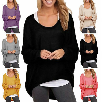 Plus Size Women Long Sleeve Blouse Shirt Pullover Casual Baggy Loose Top Jumper