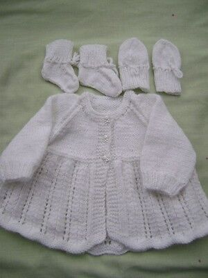 New Hand Knitted White Matinee Jacket ,Mittens and Bootees 0/3 months