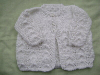 New Hand Knitted White Matinee Jacket  0/3 months