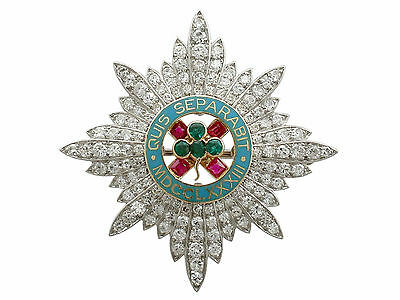 2.10 ct Diamond 0.29 ct Ruby & Emerald Platinum Military Brooch by Cartier 1940s
