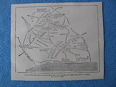 1884 Civil War Prints - Map of Battle of Shiloh Showing Positions B4 & During
