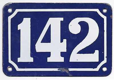 Old blue French house number 142 door gate plate plaque enamel metal sign steel