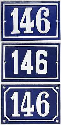 Old blue French house number 146 enamel steel door gate plate plaque - pick of 3