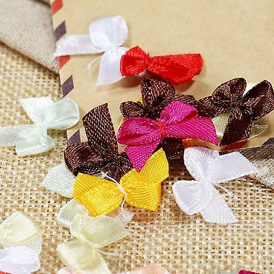 100 x Satin Ribbon Bows Mini Flowers Wedding Party Xmas Gift Craft DIY Mix Color