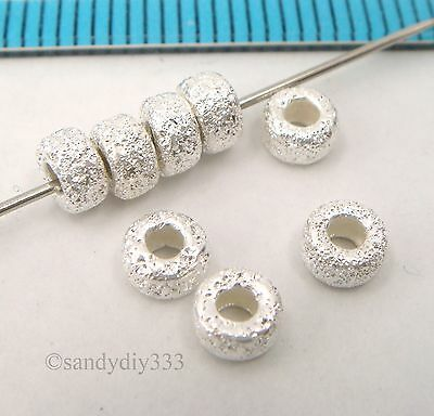 10x BRIGHT STERLING SILVER STARDUST RONDELLE SPACER BEADS 4.1mm #2411
