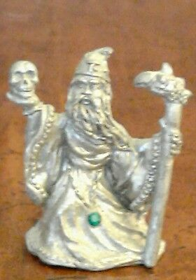 Spoontiques pewter wizard-with blue speckes/green gem-1989- VERY NICE