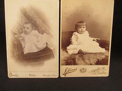 Glines Boston & Hardy Springfield 2 Mass Antique Cabinet Photos of Infants