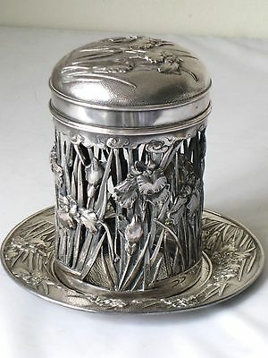 Arthur & Bond Yokohama Meiji Era Sterling Silver Iris Tea Caddy Cover & Tray