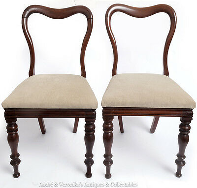 Antique Pair of Spoon Back DINING / HALL / OCCASIONAL CHAIRS Warm Grey Mahogany