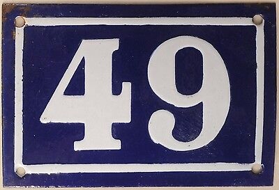 Old blue French house number 49 door gate plate plaque enamel metal sign c1950
