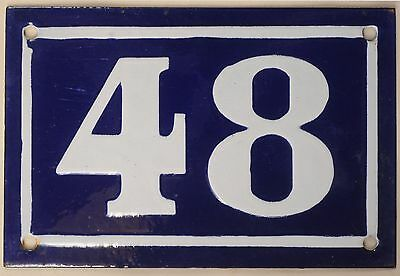 Old blue French house number 48 door gate plate plaque enamel metal sign c1950