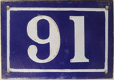 Very old blue French house number 91 door gate plate enamel steel metal sign